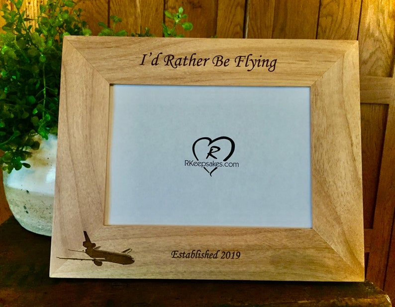Commercial Pilot Aviator Picture frame with custom engraving and commercial jet image engraved, alder