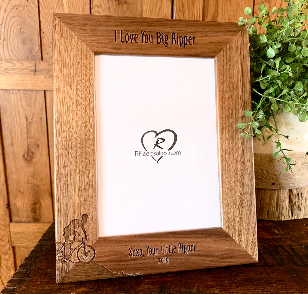 Personalized Mountain Biking Picture Frame with custom text and mountain biking image engraved, in walnut