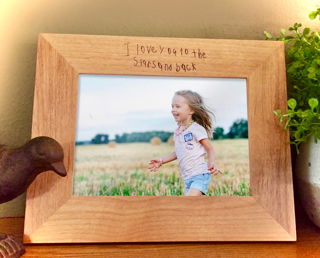 Custom Engraved Handwriting picture frame, child's writing