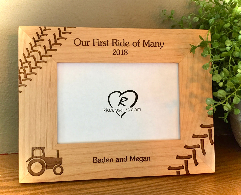 Personalized Tractor Picture Frame with Custom Text, tractor tracks and tractor image engraved in alder wood