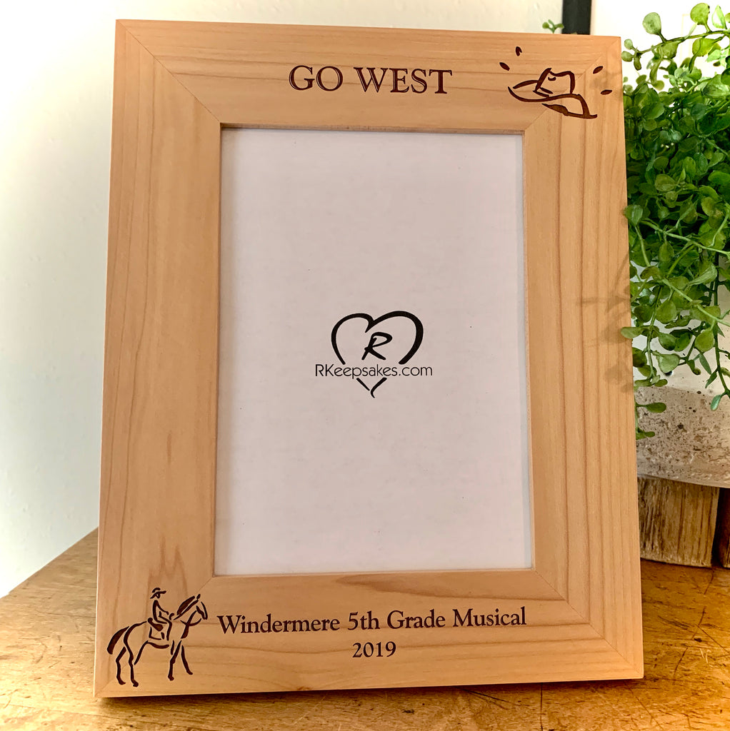 Personalized Western Picture Frame with custom text, horse and cowboy hat images engraved