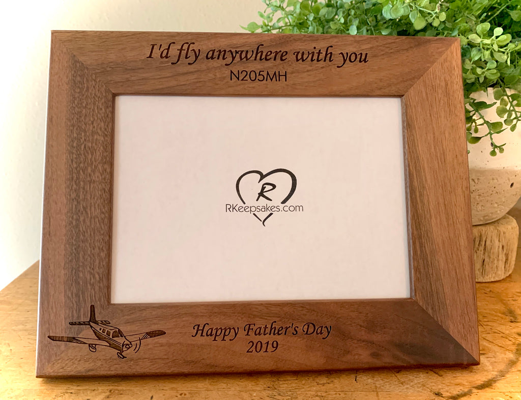 Personalized low wing walnut picture frame with custom text and low wing airplane image engraved