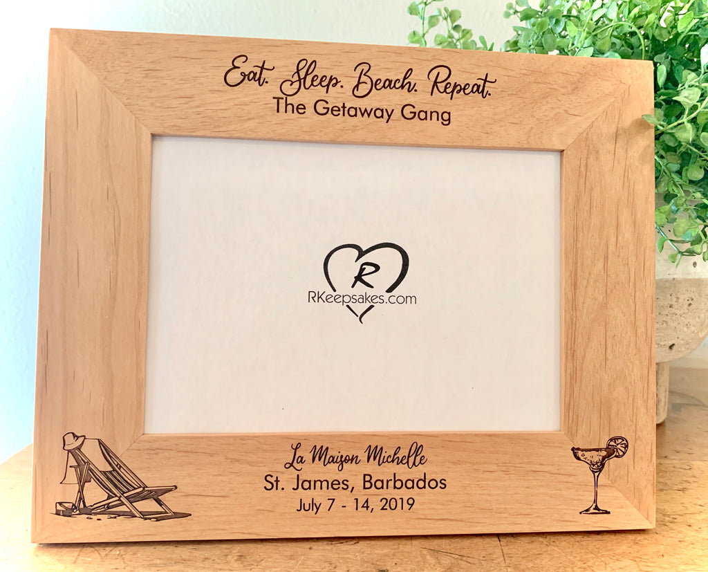 Beach Cocktail Picture Frame, Custom Text