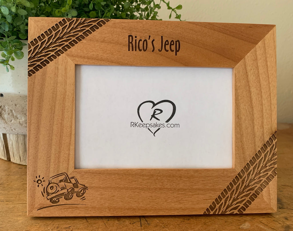Personalized Jeep Picture frame with custom text, tire tracks and jeep image engraved, in alder
