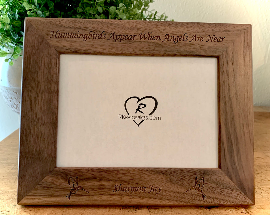 Hummingbird Picture Frame with Custom Text and Hummingbird images engraved