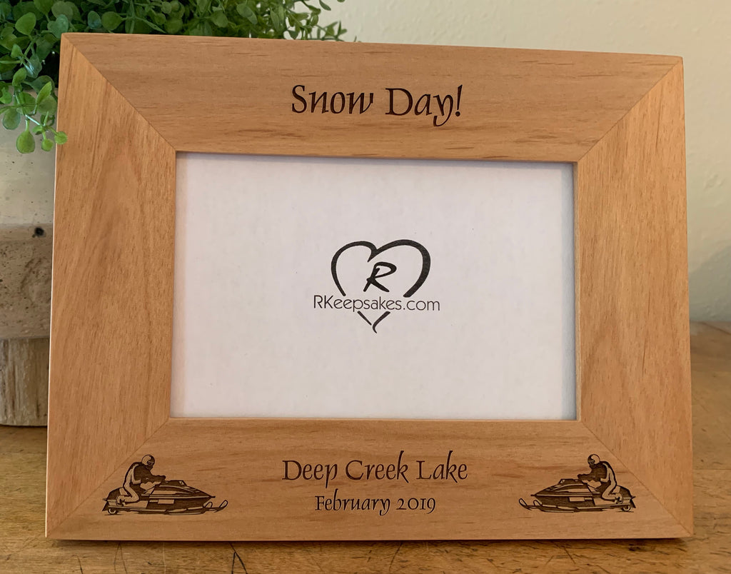 Personalized Snowmobile Picture Frame with custom text and snowmobile images engraved at the bottom