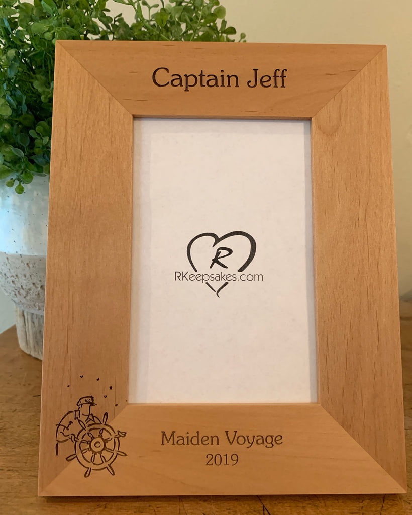 Boat Captain Picture Frame, Custom Text