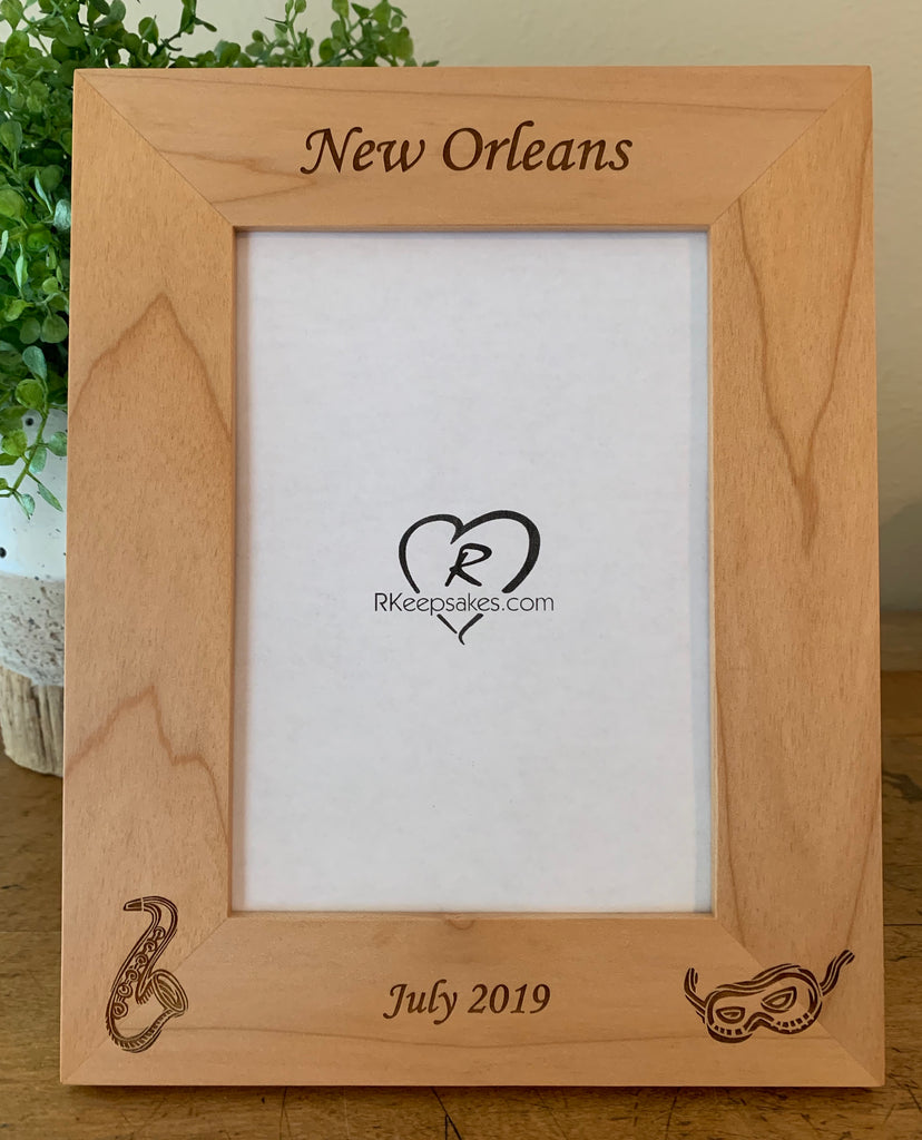 Custom New Orleans Picture Frame, with custom text, saxophone and Mardi Gras mask engraved