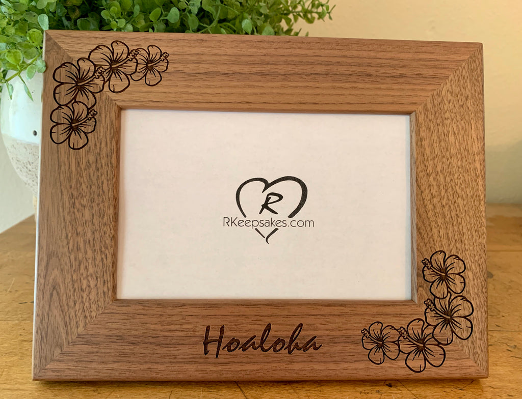Hibiscus Picture frame with custom text and hibiscus flower engraved