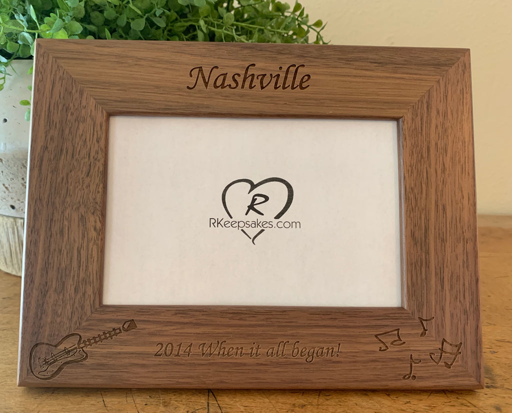 Guitar picture frame with custom text and guitar image engraved, in walnut wood