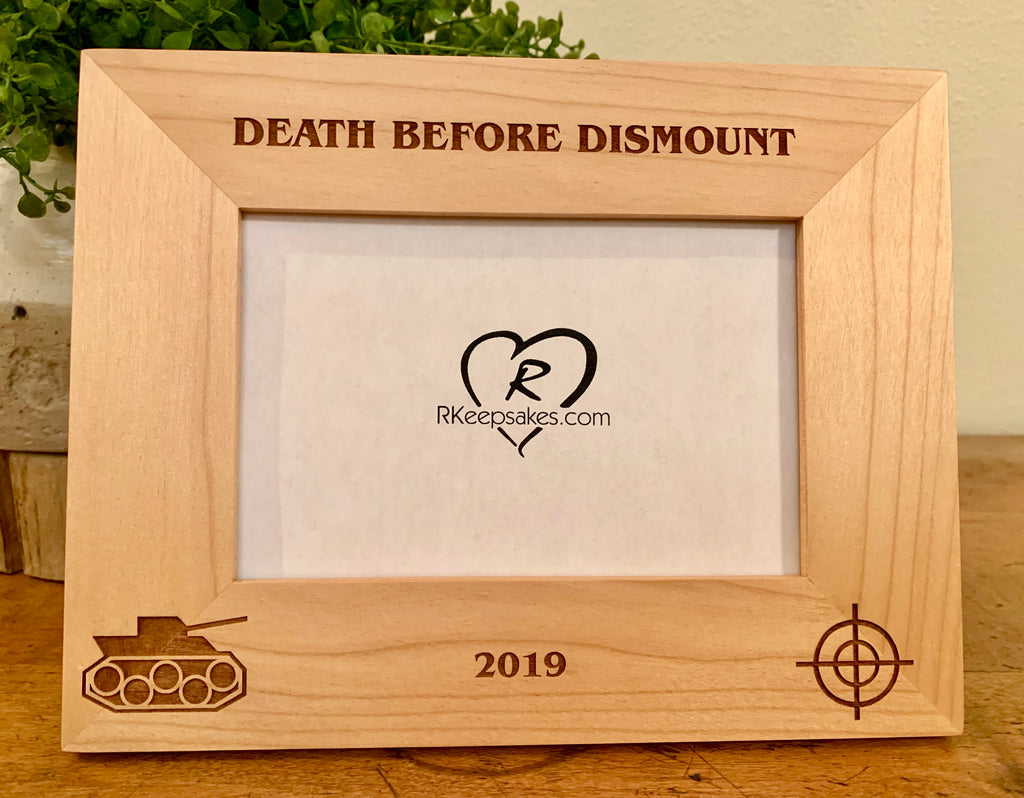 Personalized Tank Picture Frame with custom text and tank image engraved