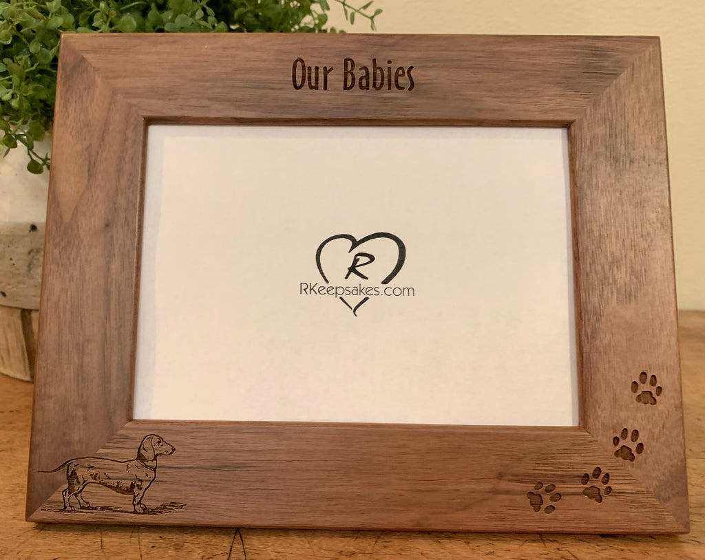 Dachshund picture frame with custom text and dachshund image engraved
