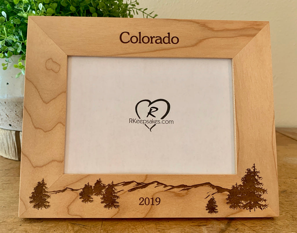 Mountain and Trees Picture frame with custom text and mountain scene engraved, in alder