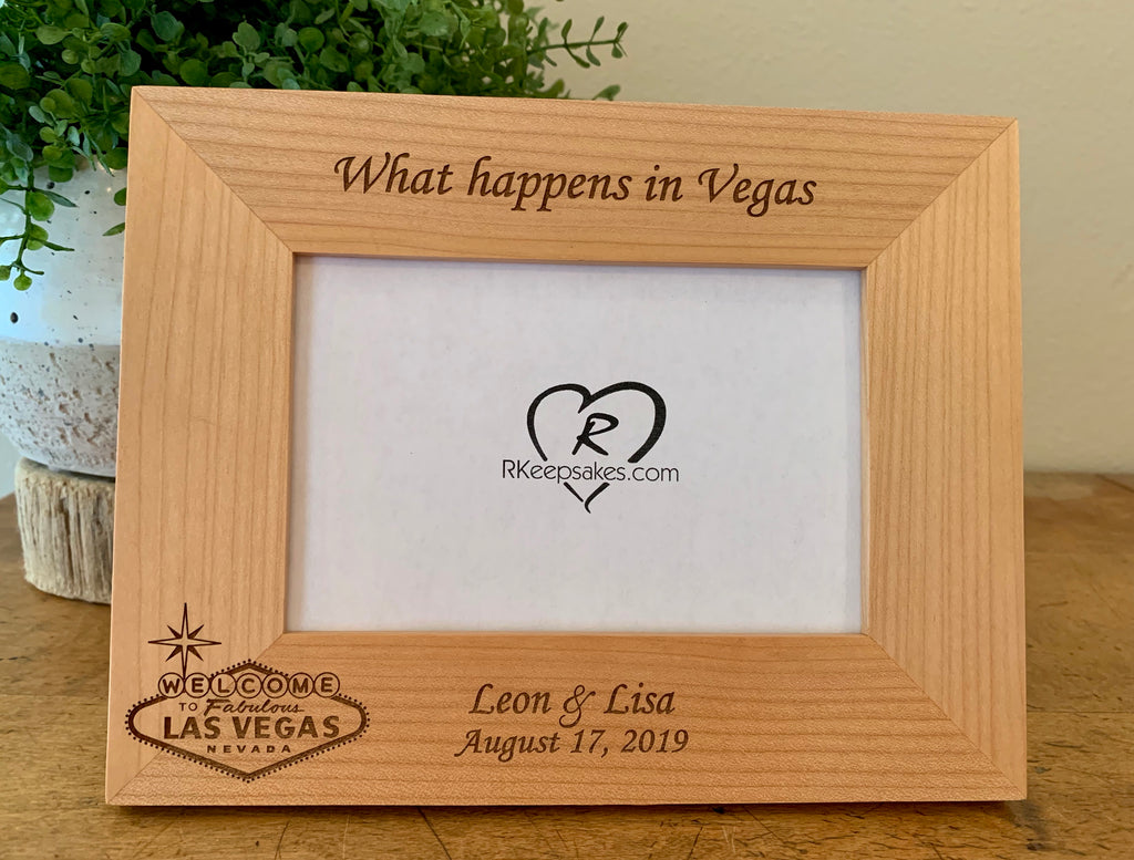 Personalized Las Vegas Picture Frame with custom text and Las Vegas sign engraved, in alder