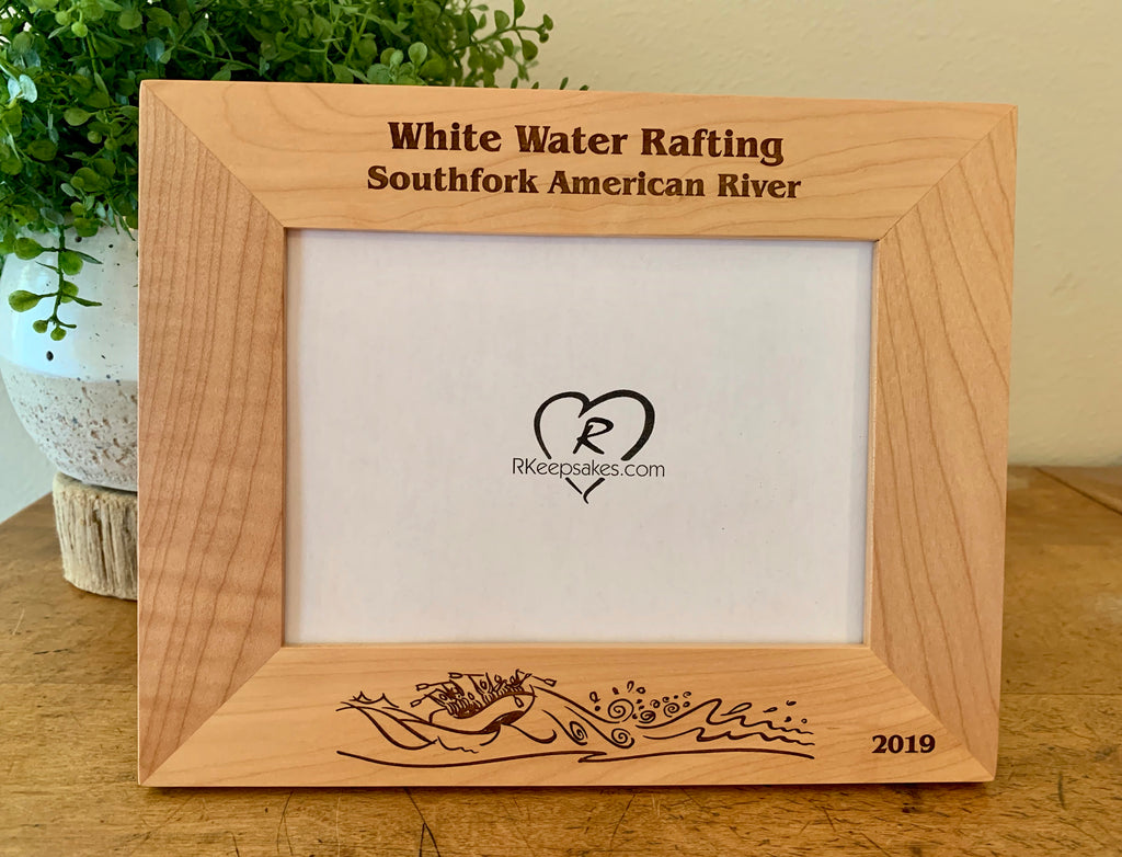 Personalized White Water Rafting Picture Frame with custom text and whitewater scene engraved in alder wood