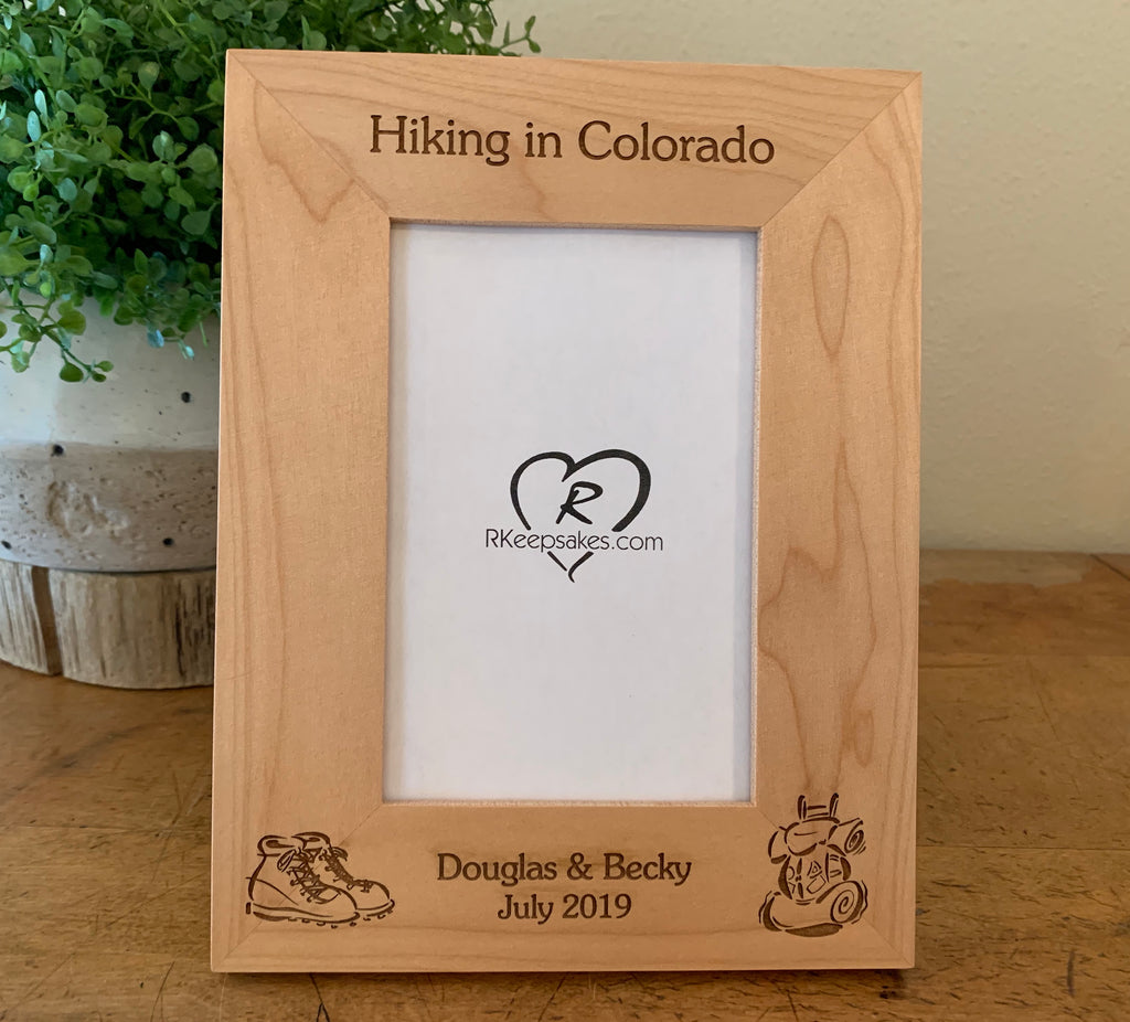 Hiking Picture Frame, Custom Text