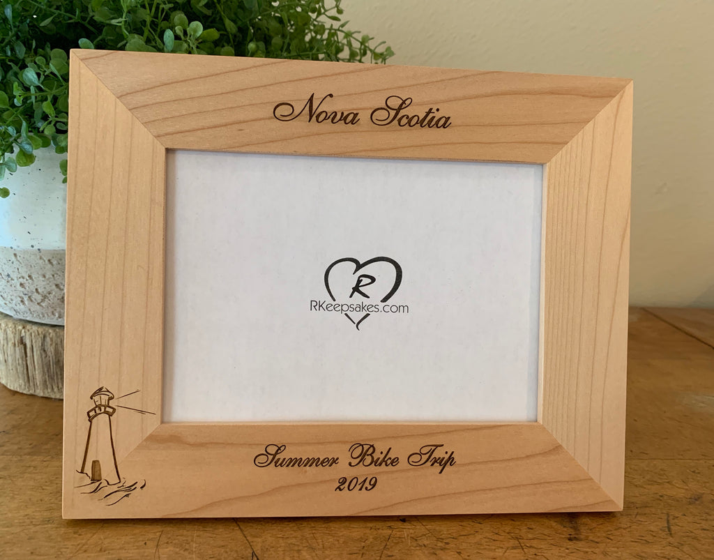 Lighthouse Picture Frame with Custom Text and lighthouse image engraved, in alder
