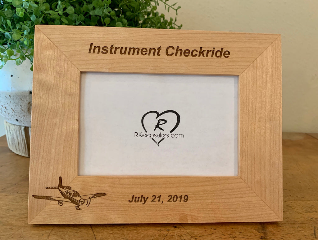 Personalized low wing alder picture frame with custom text and low wing airplane image engraved