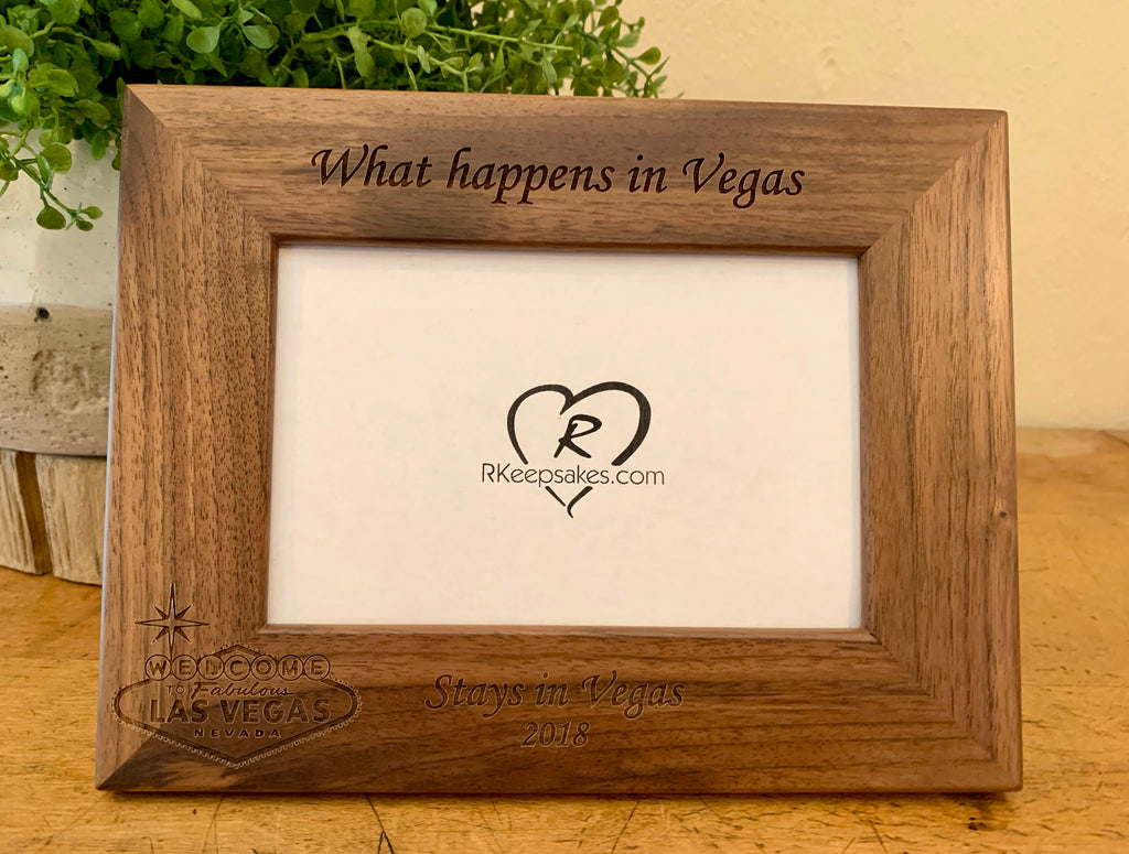 Personalized Las Vegas Picture Frame with custom text and Las Vegas sign engraved, in walnut