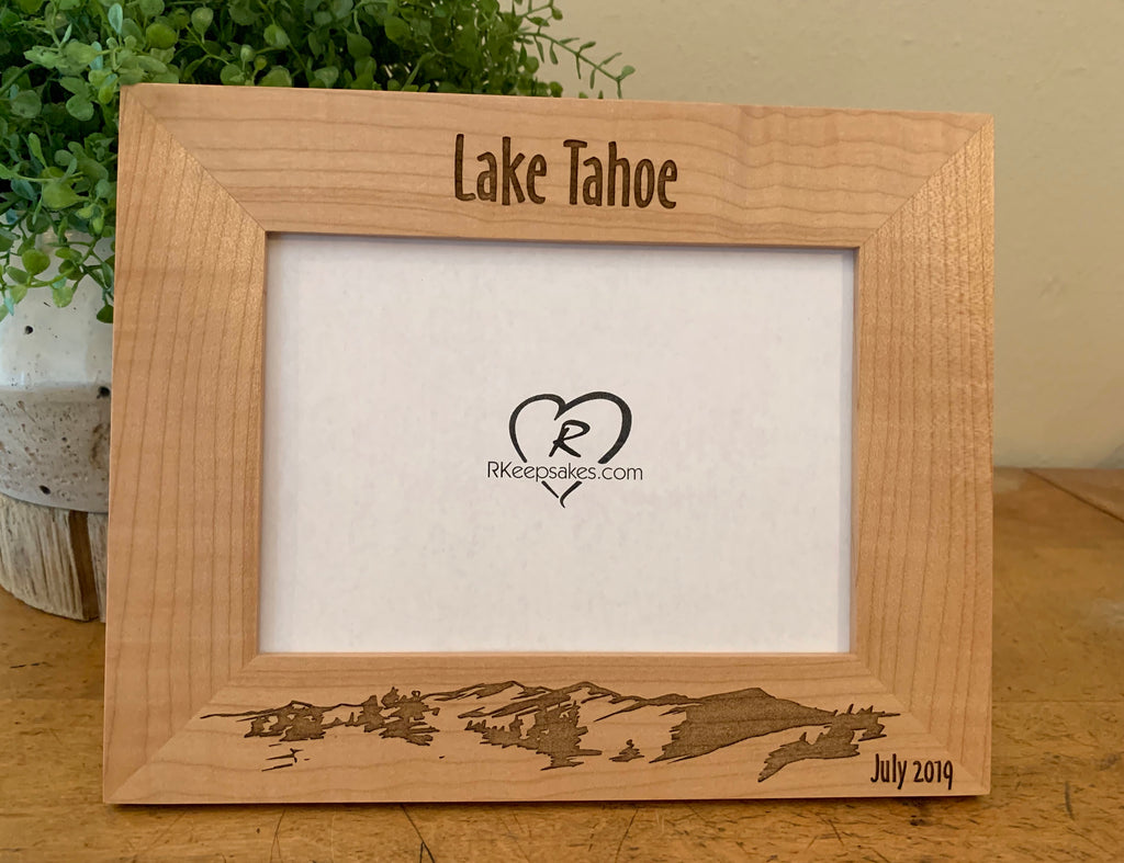 Mountain Picture Frame with Custom Text and mountain scene engraved, in alder