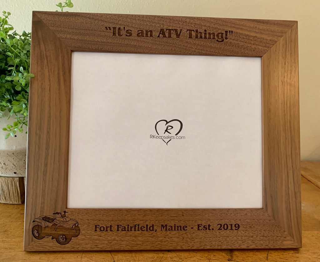 Personalized ATV walnut picture frame with custom text