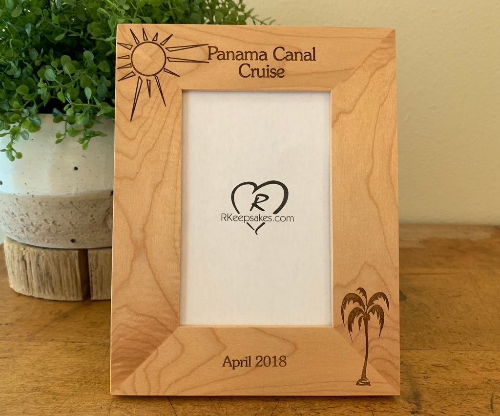 Palm Tree Picture Frame with Custom Text and palm tree image engraved