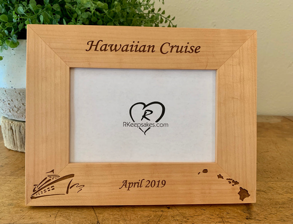 Hawaii Cruise picture frame with custom text, cruise ship and Hawaiian islands images engraved