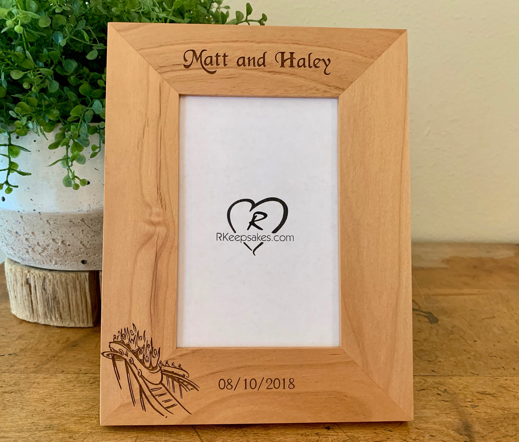 Personalized Rollercoaster Picture Frame with custom text and roller coaster image engraved in alder, vertical