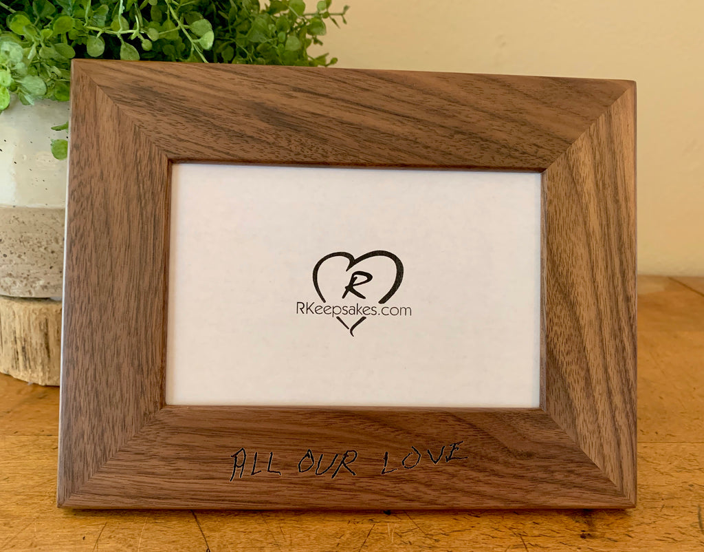 Custom Engraved Handwriting picture frame, in walnut