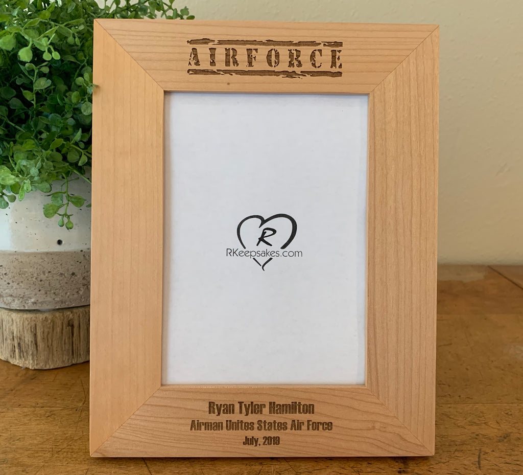 Air Force Military Picture Frame, Custom Text