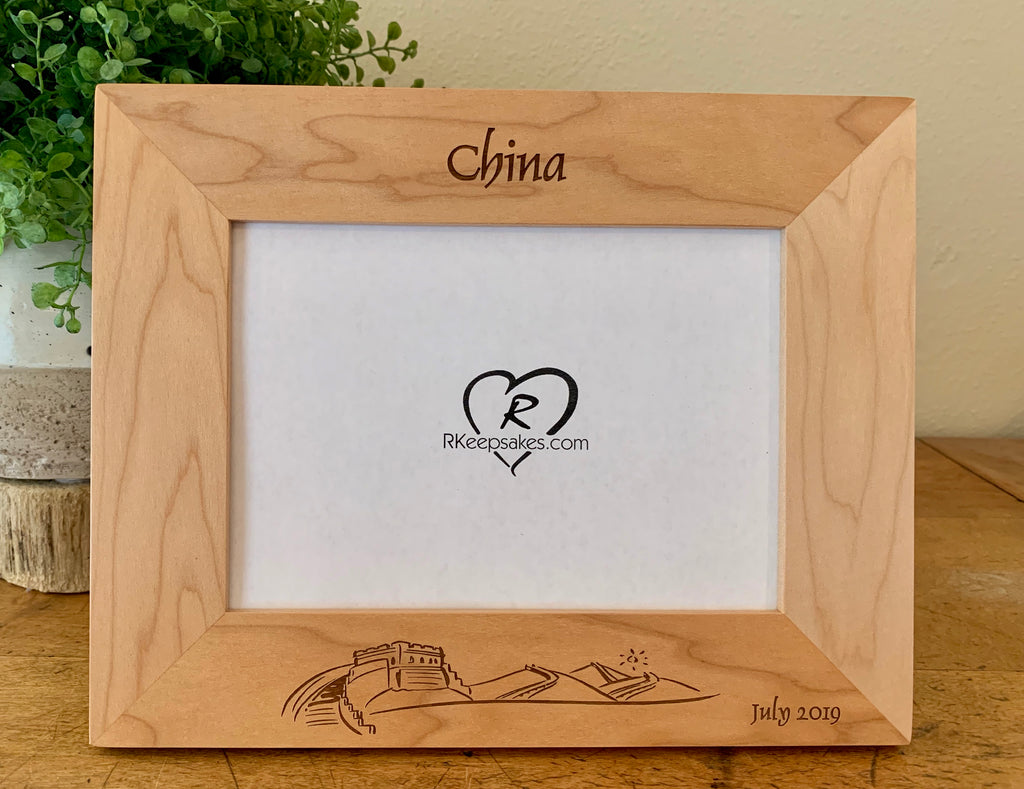 Great Wall of China Picture Frame with Custom Text and image engraved