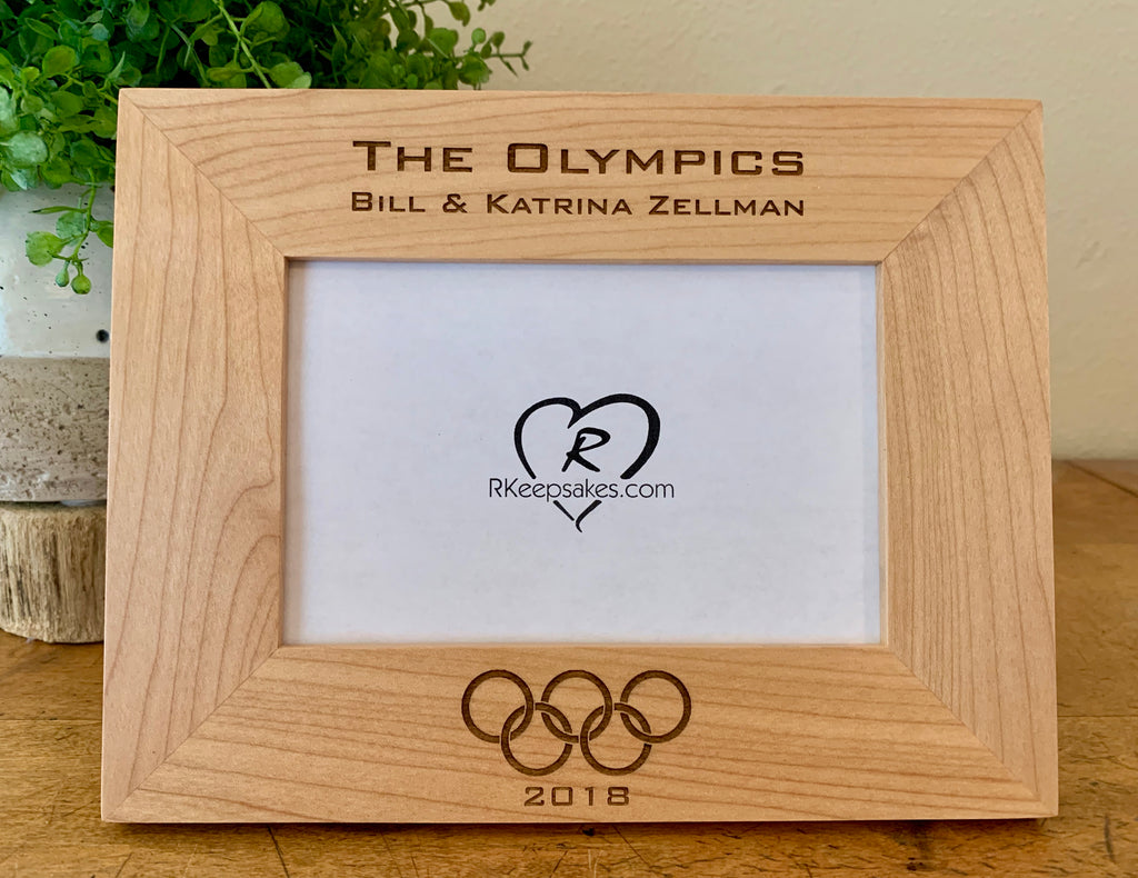 Personalized Olympics Picture Frame with custom text and Olympic rings engraved