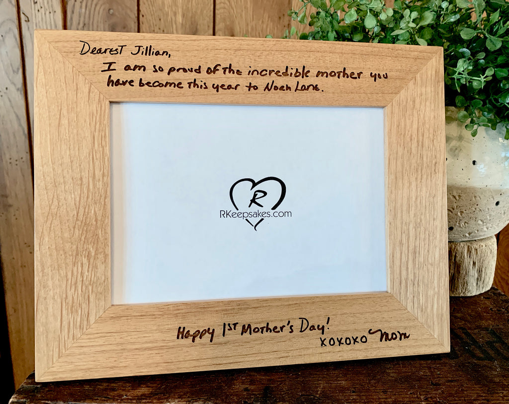 Custom Engraved Handwriting picture frame, top and bottom
