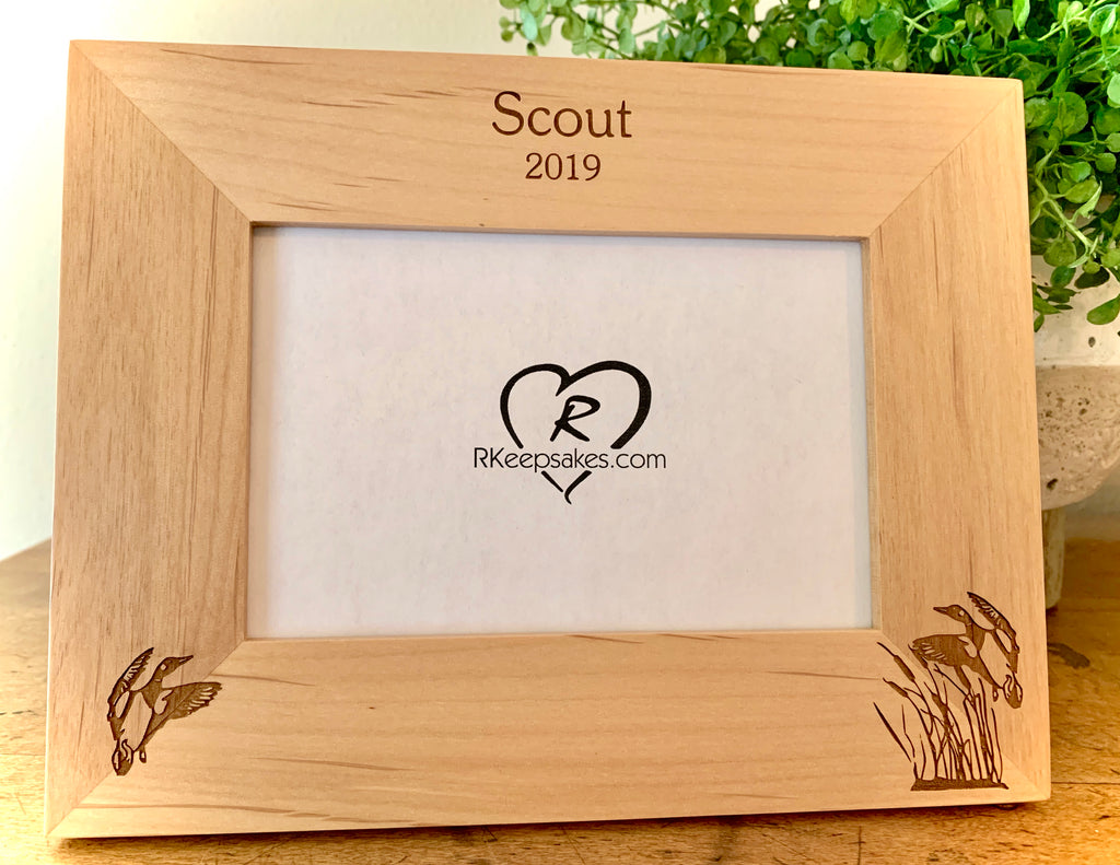 Duck picture frame with custom text and duck images engraved