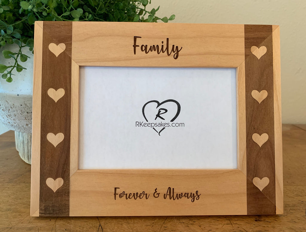 Personalized Hearts Picture Frame with Custom Text and Hearts images engraved on border