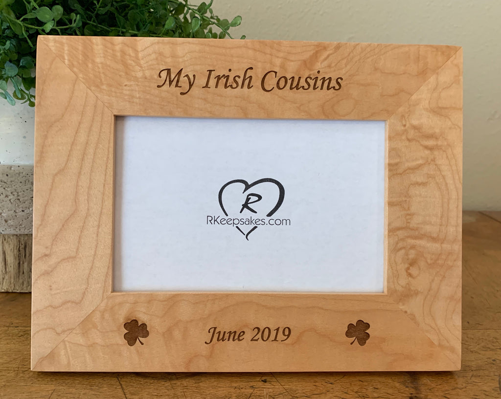 Personalized Ireland Picture Frame with Shamrocks engraved and custom text