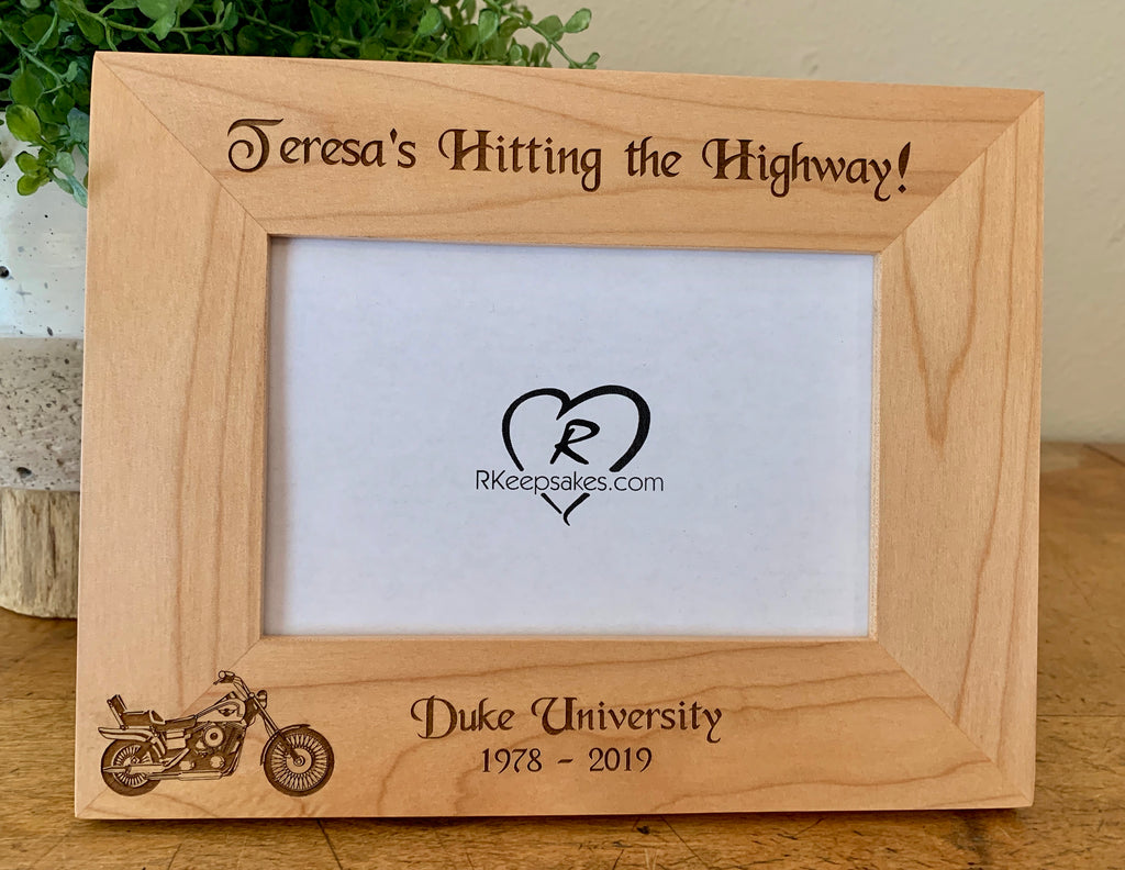 Personalized Motorcycle Picture Frame with motorcycle image and custom text engraved