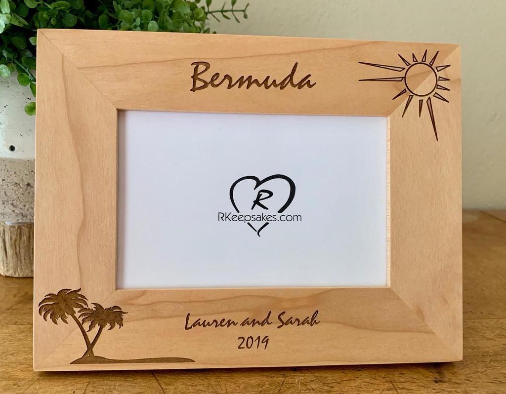 Personalized Island Vacation Picture Frame with custom text and palm tree images engraved, in alder