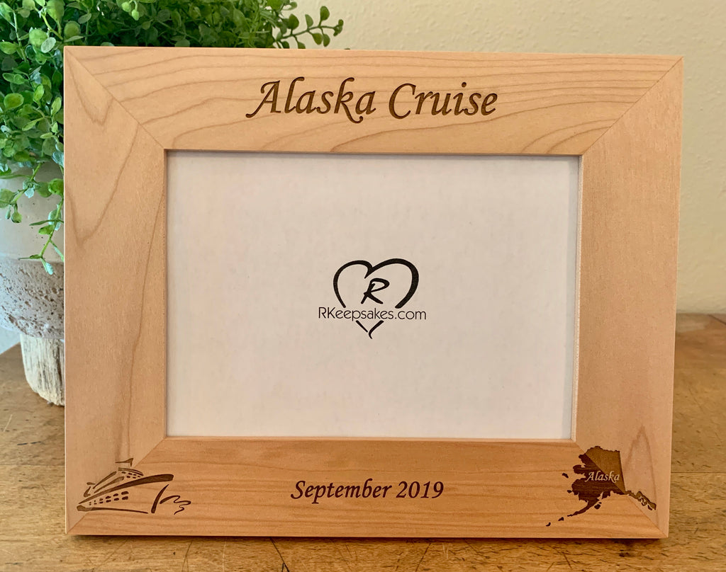 Alaska Cruise personalized picture frame with custom text, cruise ship and Alaska engraved in lower corners