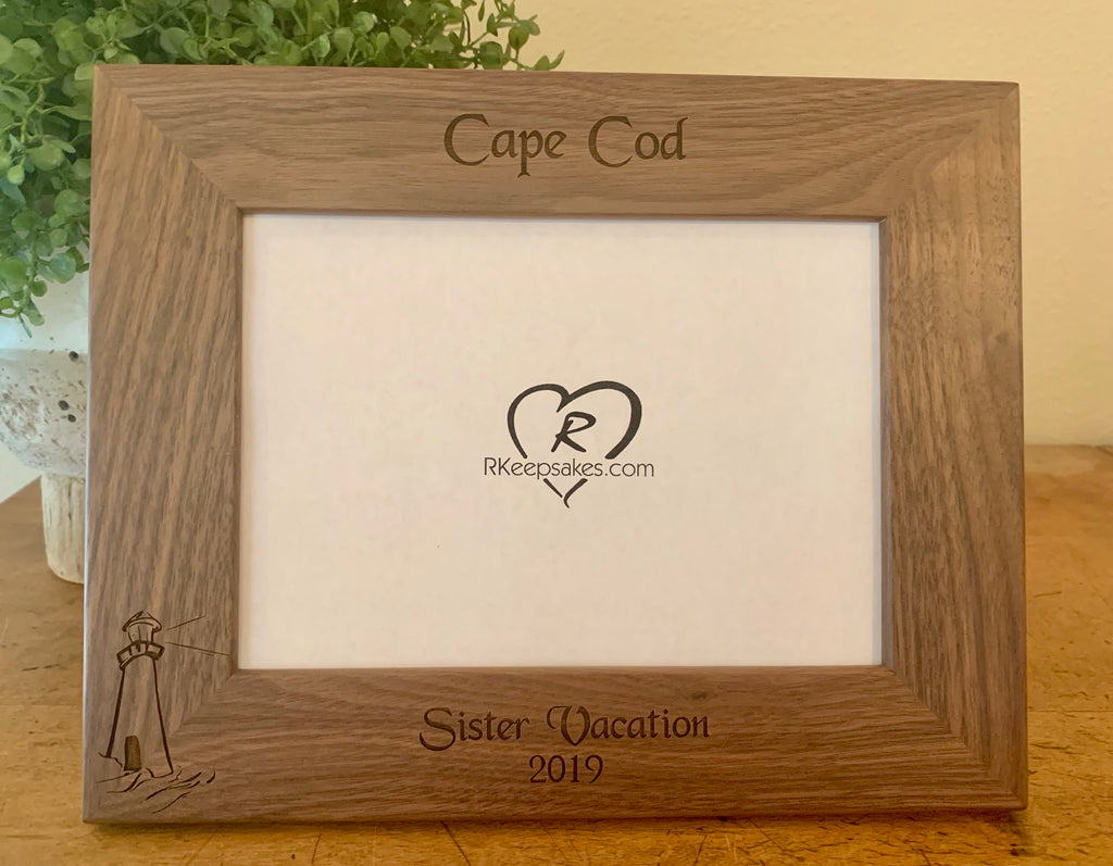 Lighthouse Picture Frame with Custom Text and lighthouse image engraved, in walnut