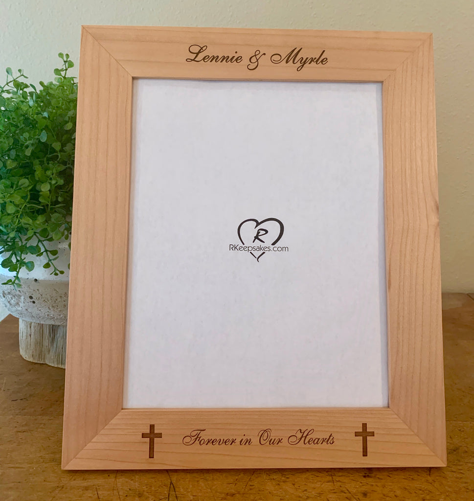 Cross picture frame with custom text and two small crosses engraved