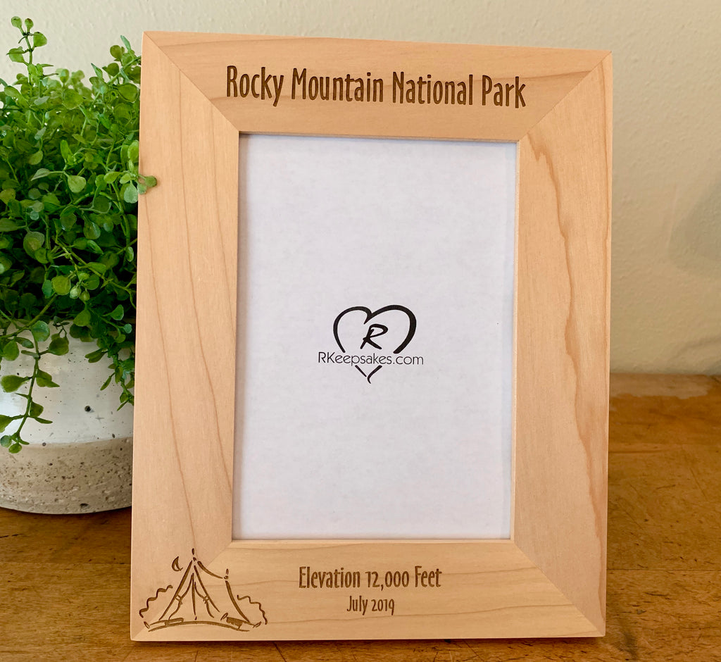 Personalized Camping Picture Frame with custom text and text image engraved
