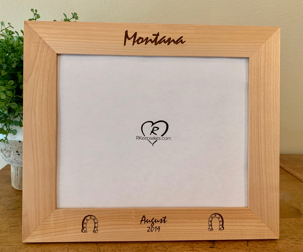 Horseshoe picture frame with custom text and horseshoe images engraved