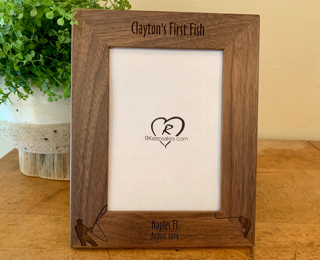 Fishing Picture frame with custom text and fisherman image engraved, in walnut wood