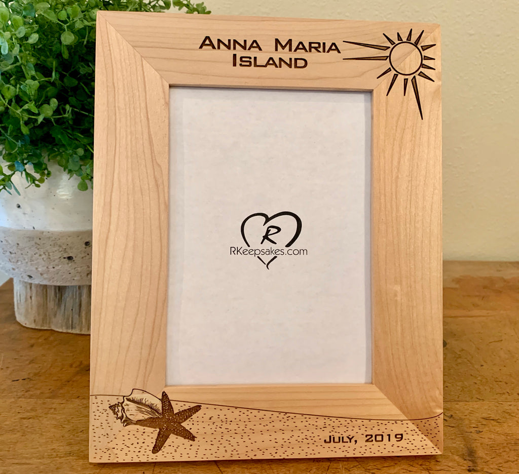 Custom Beach Starfish picture frame with personalized text, vertical