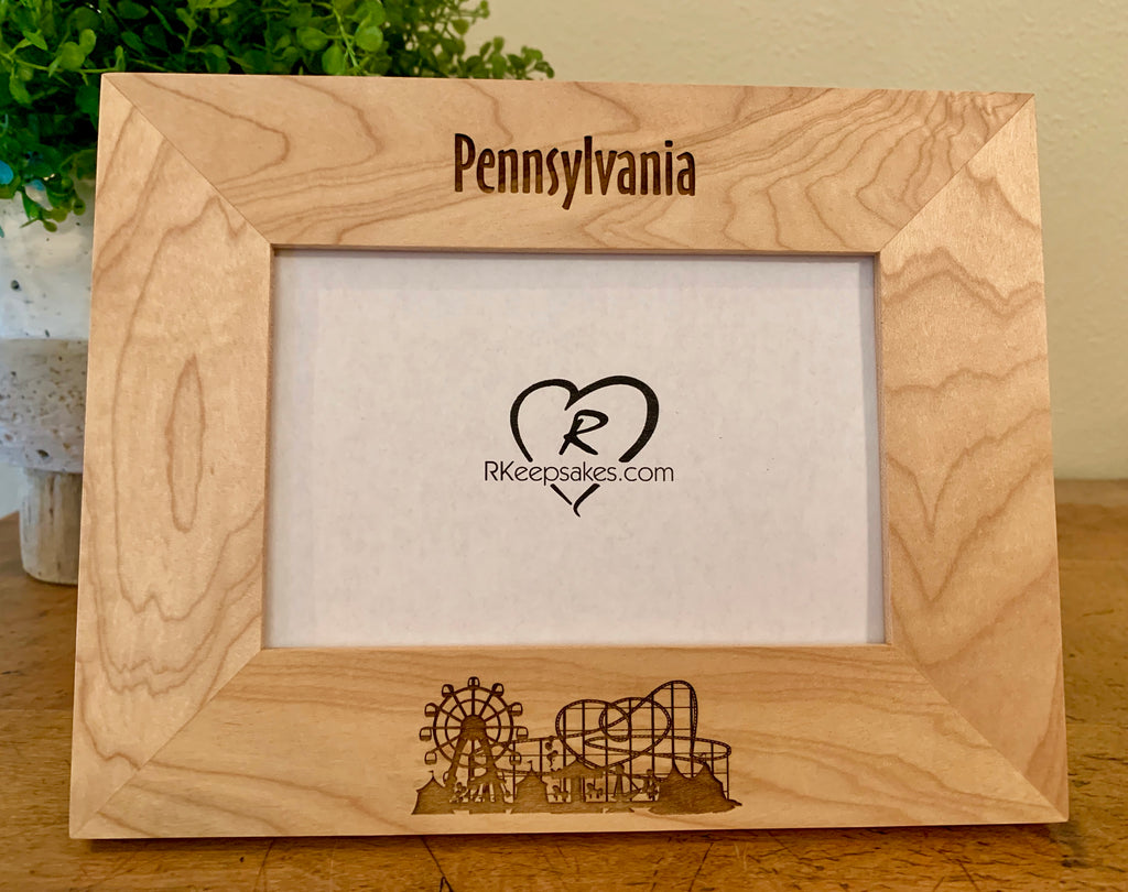 Amusement Park Picture Frame, Custom Text
