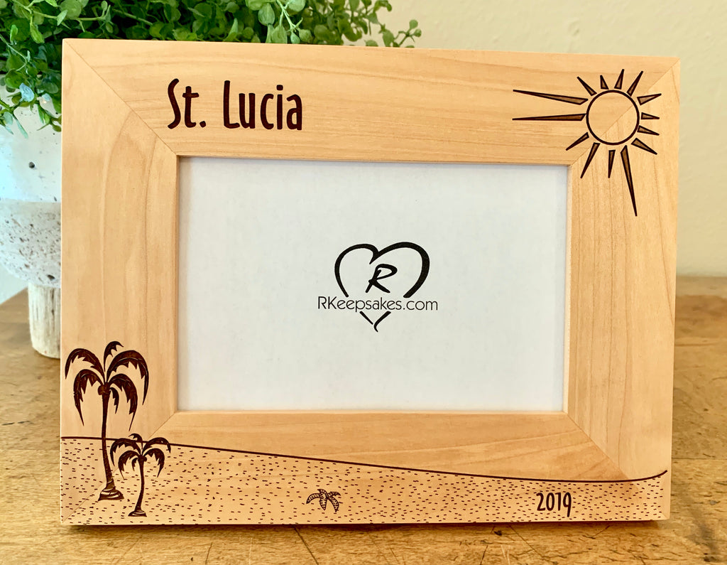 Custom Beach picture frame in alder with personalized text