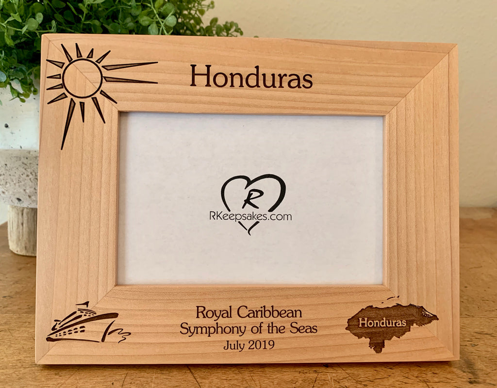 Honduras Cruise Picture Frame, Custom Text