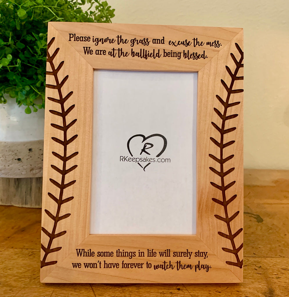 Baseball Picture frame with stitches engraved