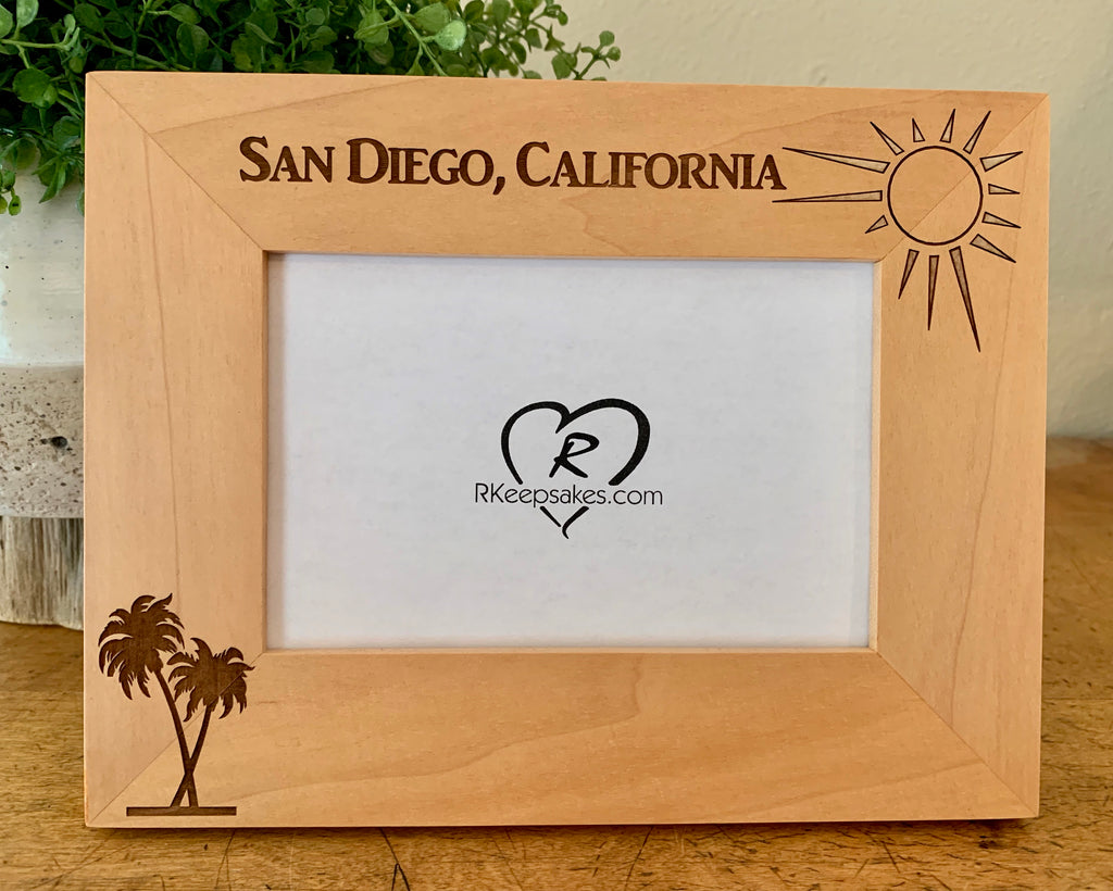 Palm Trees Picture Frame with Custom Text, Palm Trees, and sunshine images engraved